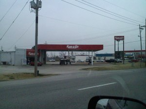 Do you see the name of this gas station? NO THANKS.